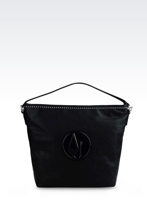 ECO LEATHER TOTE BAG WITH PATENT LEATHER LOGO : Shoulder bags Women by Armani - 1