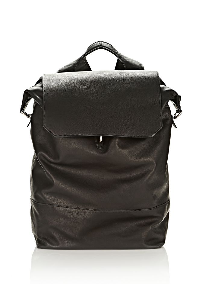 ALEXANDER WANG EXPLORER BACKPACK IN WAXY BLACK WITH MATTE BLACK