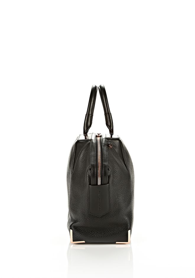 ALEXANDER WANG SMALL EMILE IN SOFT BLACK WITH ROSE GOLD TOTE Adult 12_n_d
