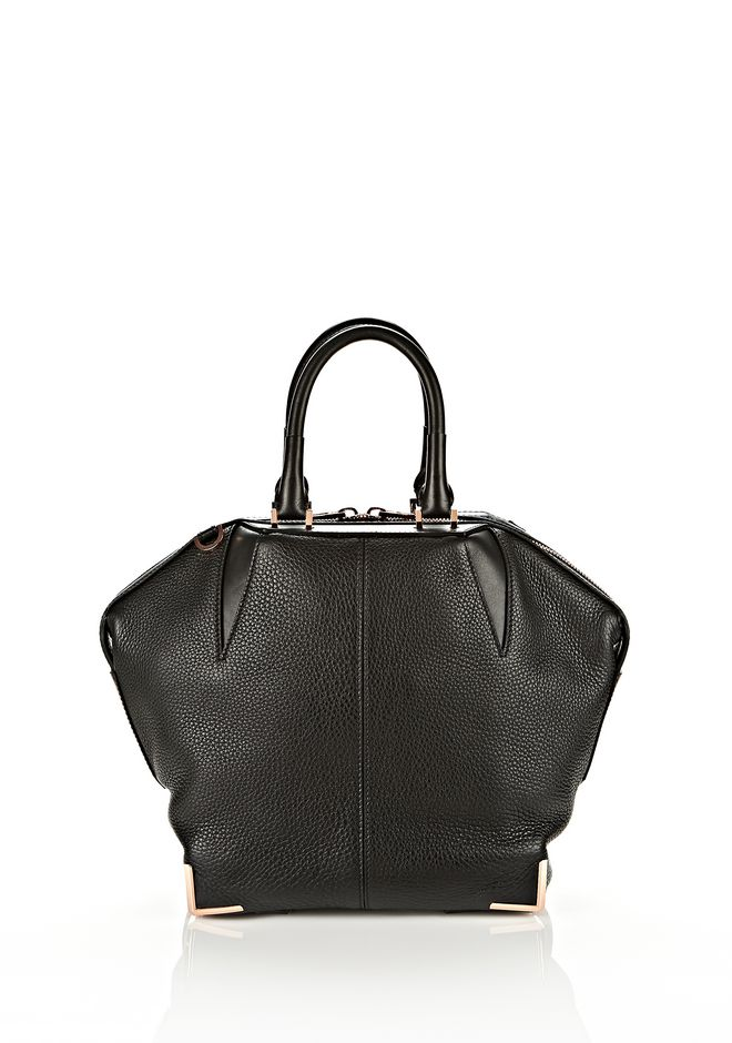 ALEXANDER WANG SMALL EMILE IN SOFT BLACK WITH ROSE GOLD TOTE Adult 12_n_e