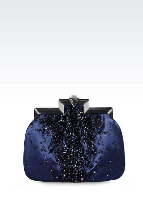 RUNWAY SHOW SATIN CLUTCH WITH RHINESTONES: Clutch bags Women by Armani - 1