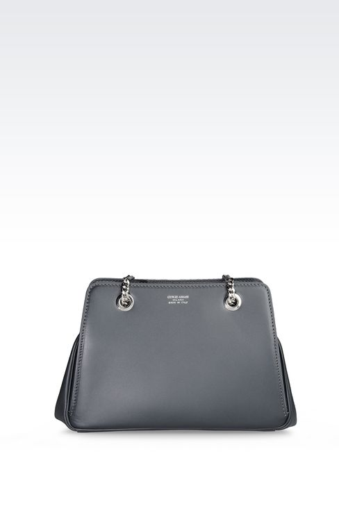 LEATHER BAG WITH CHAIN SHOULDER STRAP: Messenger bags Women by Armani - 1