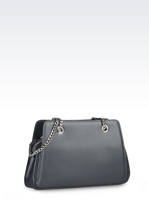 LEATHER BAG WITH CHAIN SHOULDER STRAP: Messenger bags Women by Armani - 2