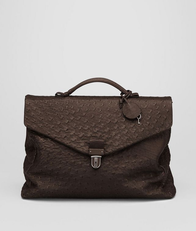 BOTTEGA VENETA Cioccolato Antique Ostrich Briefcase Business bag U fp
