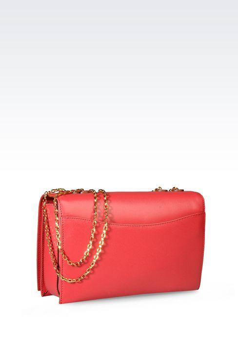 LARGE BAG IN BOARDED CALFSKIN WITH CHAIN SHOULDER STRAP: Shoulder bags Women by Armani - 2
