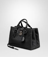 SMALL ROMA BAG IN NERO INTRECCIATO CALF