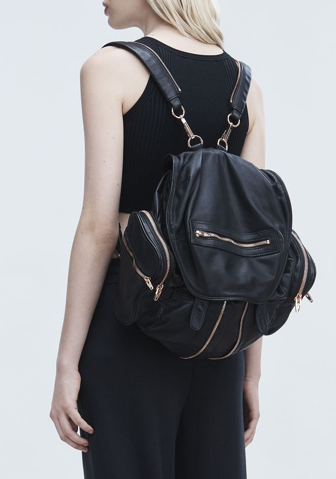 ALEXANDER WANG MARTI BACKPACK IN WASHED BLACK WITH ROSE GOLD BACKPACK Adult 12_n_r