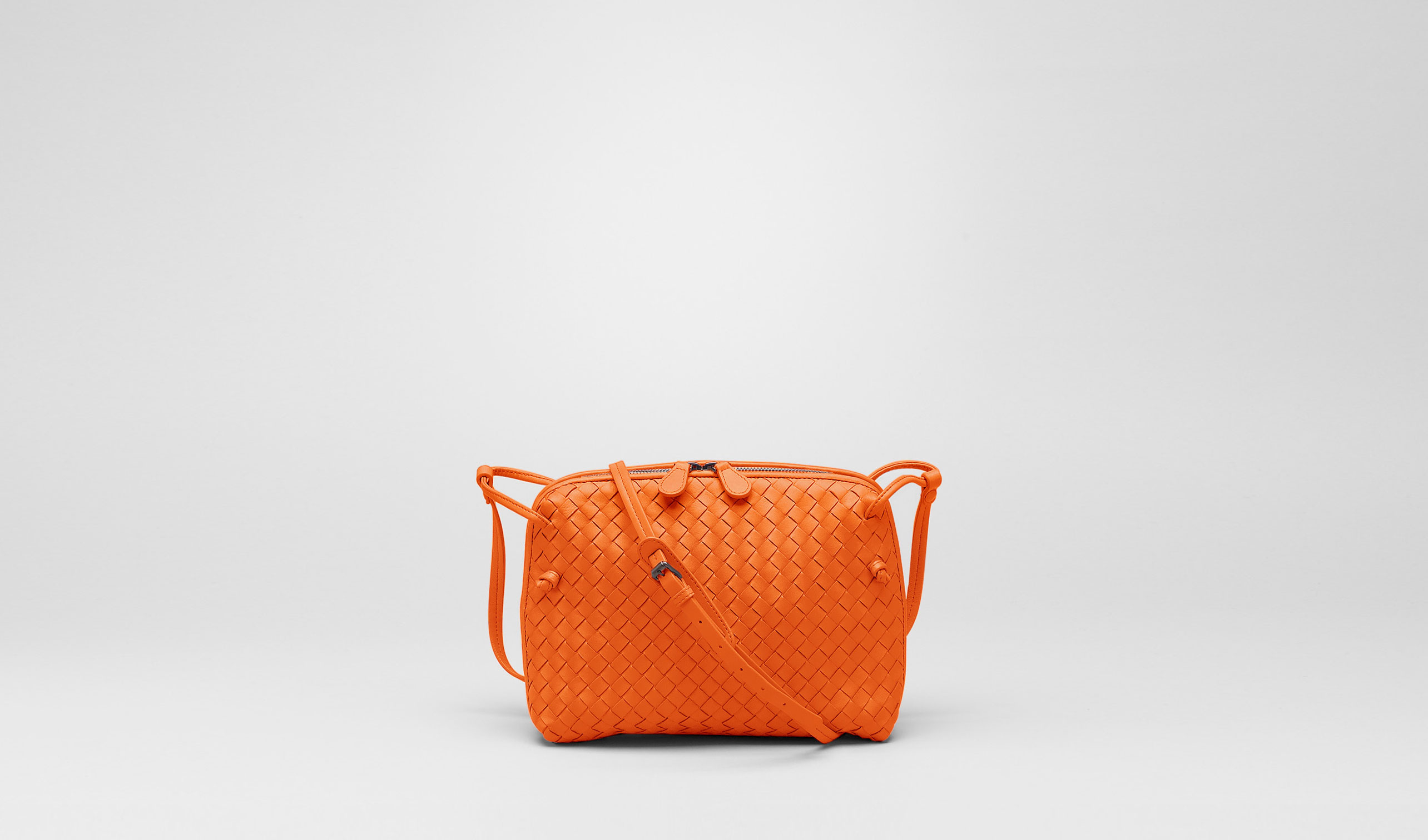 Bottega Veneta® | Tangerine Intrecciato Nappa Cross Body Bag | Crossbody bag | Bags