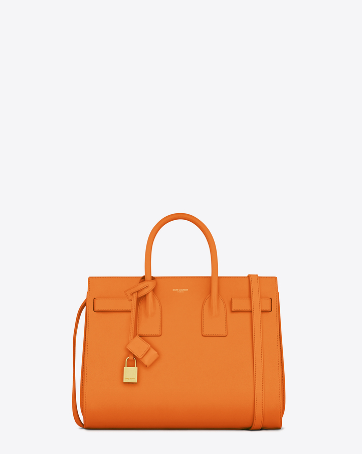 saintlaurent, Classic Small Sac de Jour Bag in Orange Leather