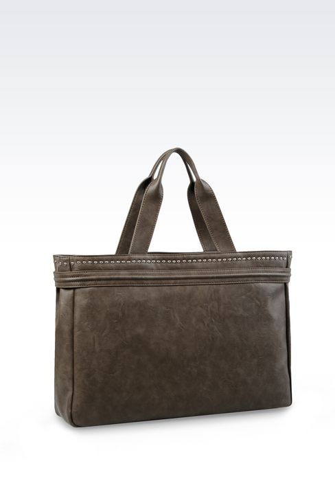 SHOPPING BAG IN FAUX LEATHER WITH LOGO: Shoppers Women by Armani - 2