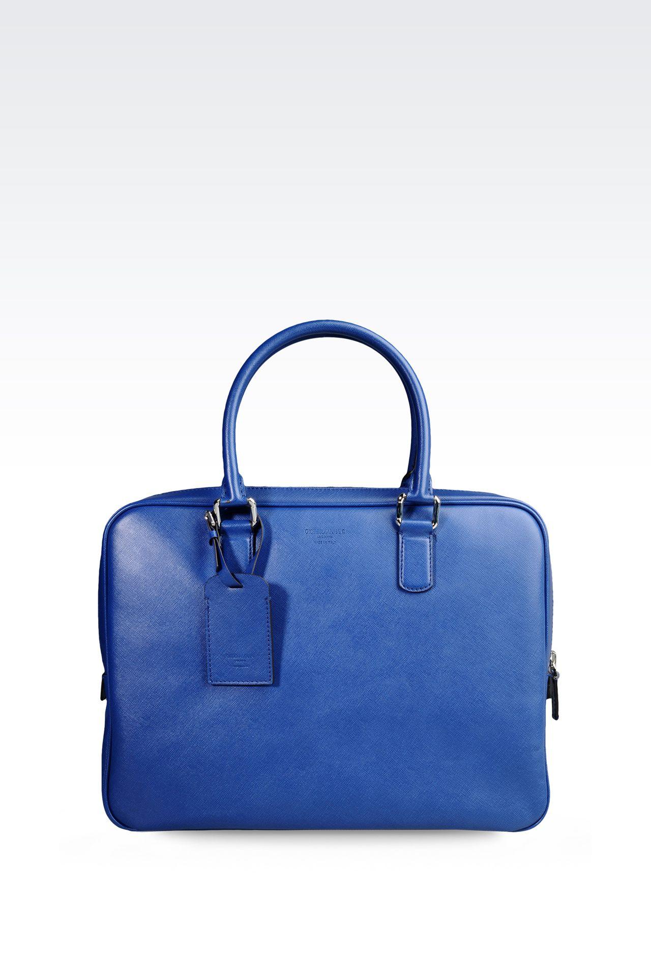 BRIEFCASE IN SAFFIANO CALFSKIN: Briefcases Men by Armani - 0
