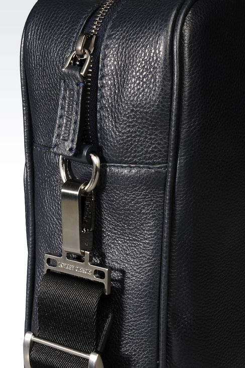 BRIEFCASE IN LEATHER WITH LOGO: Briefcases Men by Armani - 4