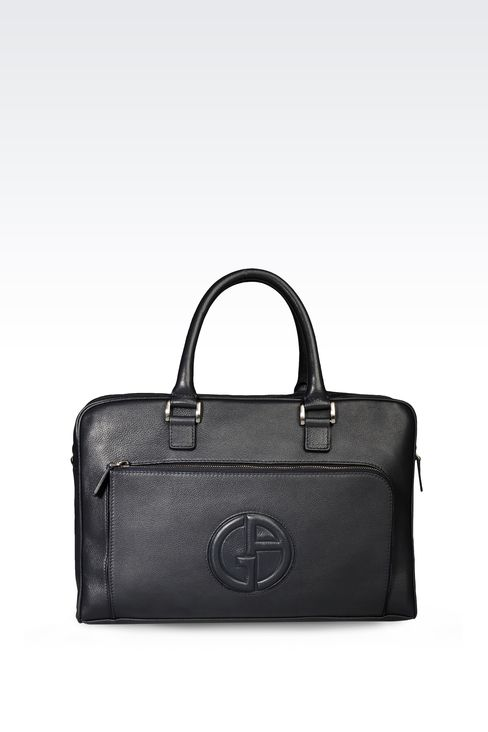 BRIEFCASE IN LEATHER WITH LOGO: Briefcases Men by Armani - 1