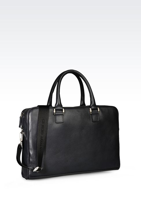 BRIEFCASE IN LEATHER WITH LOGO: Briefcases Men by Armani - 2