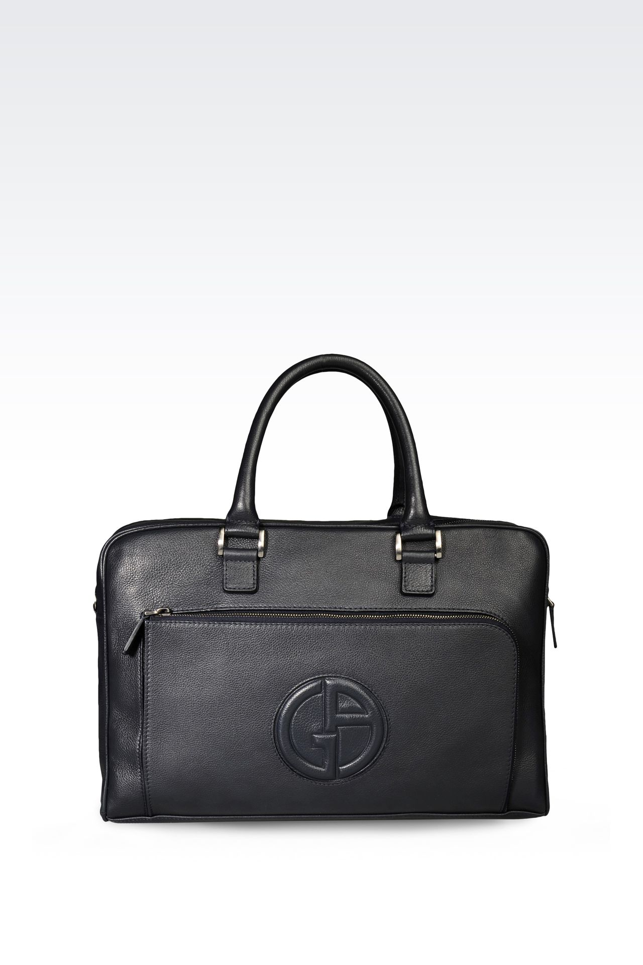 BRIEFCASE IN LEATHER WITH LOGO: Briefcases Men by Armani - 0