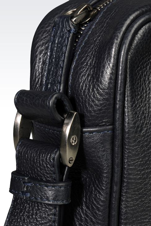 SMALL SHOULDER BAG WITH LOGO: Messenger bags Men by Armani - 4
