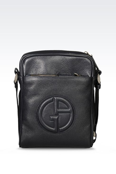 SMALL SHOULDER BAG WITH LOGO: Messenger bags Men by Armani - 1