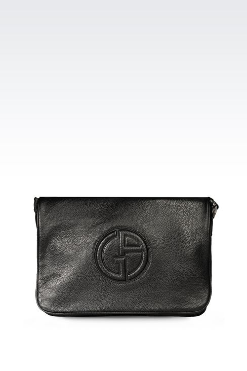CALFSKIN MESSENGER BAG WITH LOGO: Messenger bags Men by Armani - 1