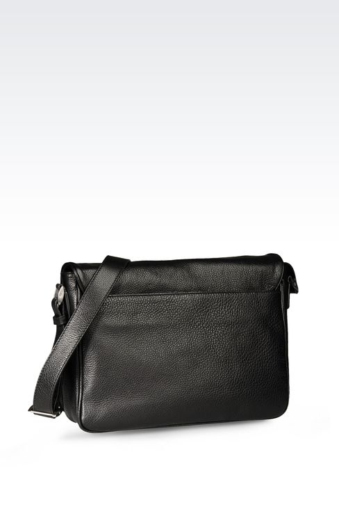CALFSKIN MESSENGER BAG WITH LOGO: Messenger bags Men by Armani - 2