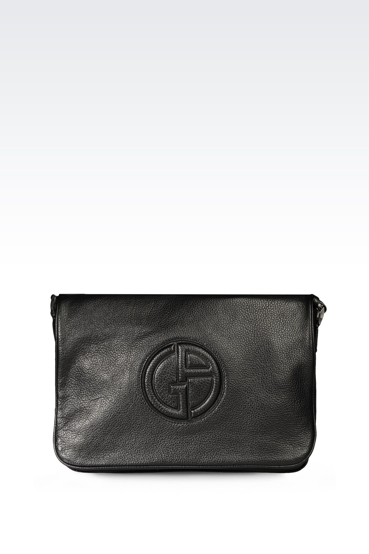 CALFSKIN MESSENGER BAG WITH LOGO: Messenger bags Men by Armani - 0