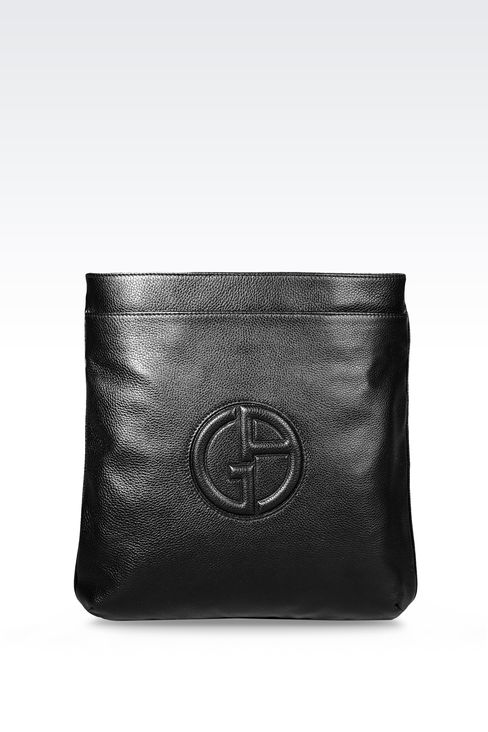 FLAT SHOULDER BAG IN CALFSKIN WITH LOGO: Messenger bags Men by Armani - 1