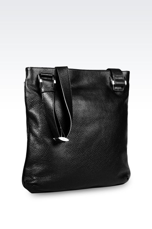 FLAT SHOULDER BAG IN CALFSKIN WITH LOGO: Messenger bags Men by Armani - 2