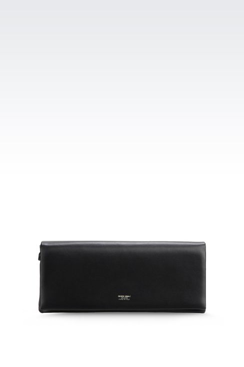 LEATHER CLUTCH WITH DETACHABLE SHOULDER STRAP: Clutch bags Women by Armani - 1