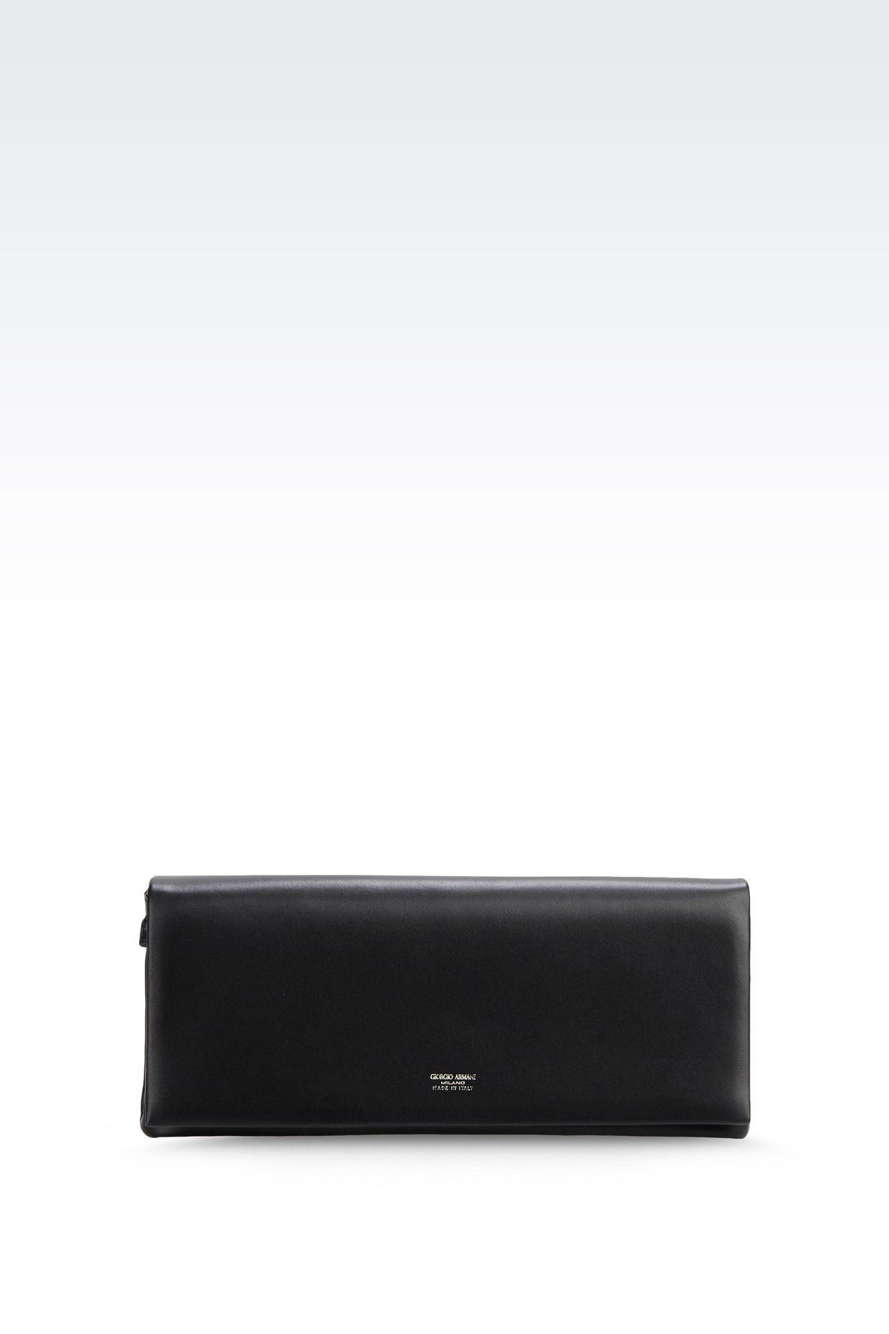 LEATHER CLUTCH WITH DETACHABLE SHOULDER STRAP: Clutch bags Women by Armani - 0