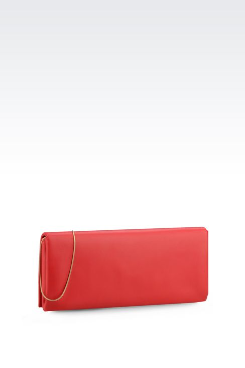 LEATHER CLUTCH WITH DETACHABLE SHOULDER STRAP: Clutch bags Women by Armani - 2