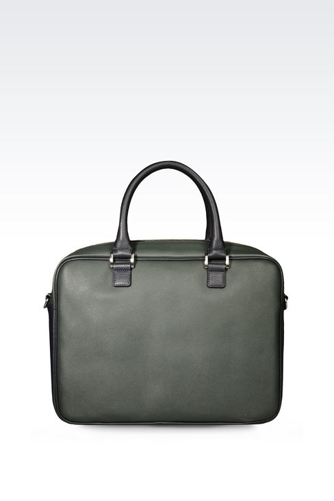 TWO TONE LEATHER BRIEFCASE : Briefcases Men by Armani - 1