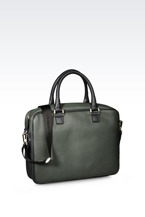 TWO TONE LEATHER BRIEFCASE : Briefcases Men by Armani - 2