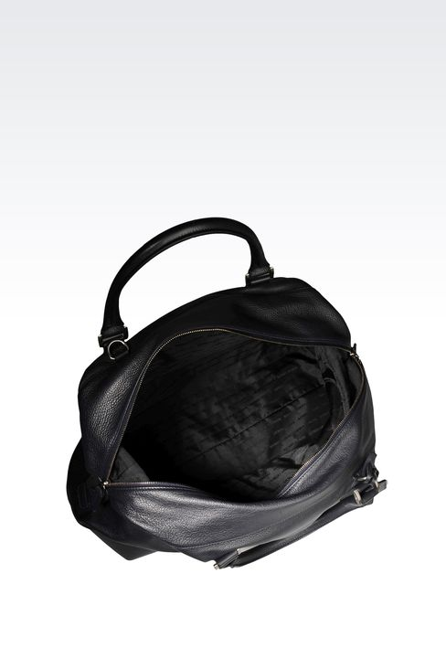WEEKEND BAG IN TUMBLED LEATHER WITH LOGO: Weekender bags Men by Armani - 3