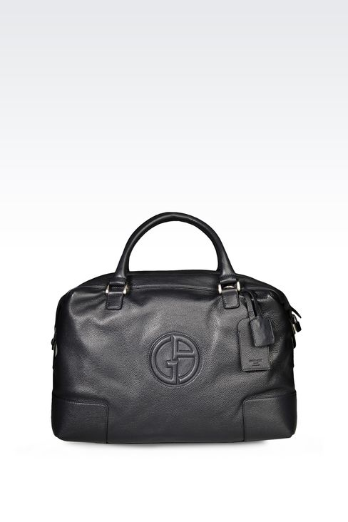 WEEKEND BAG IN TUMBLED LEATHER WITH LOGO: Weekender bags Men by Armani - 1