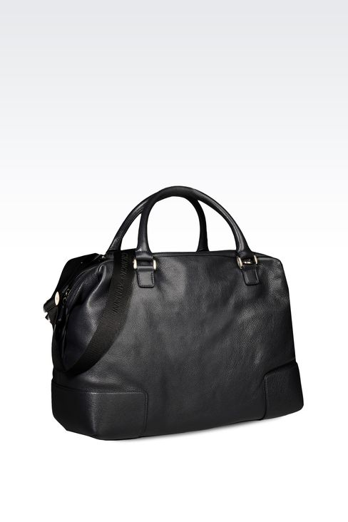 WEEKEND BAG IN TUMBLED LEATHER WITH LOGO: Weekender bags Men by Armani - 2