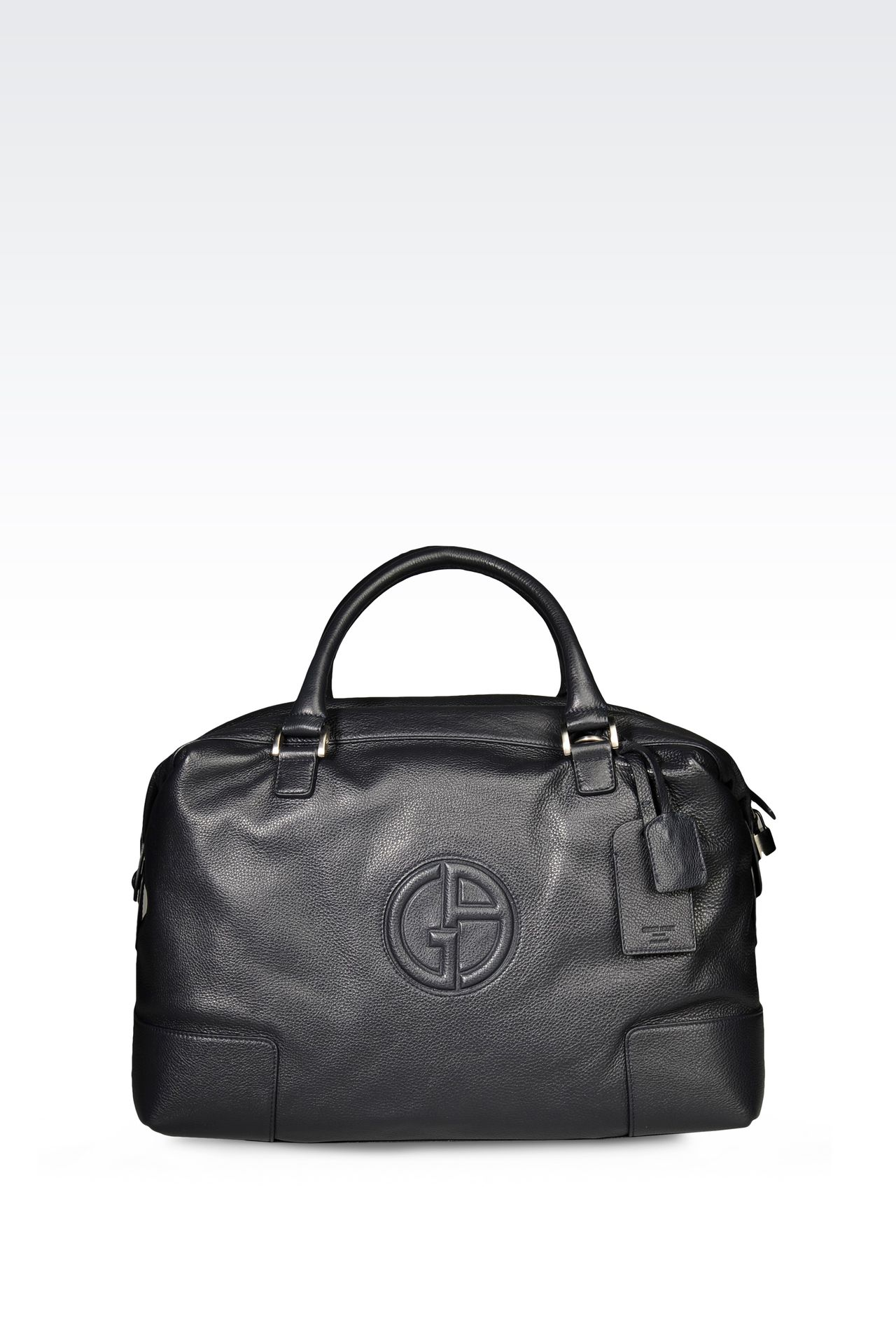 WEEKEND BAG IN TUMBLED LEATHER WITH LOGO: Weekender bags Men by Armani - 0