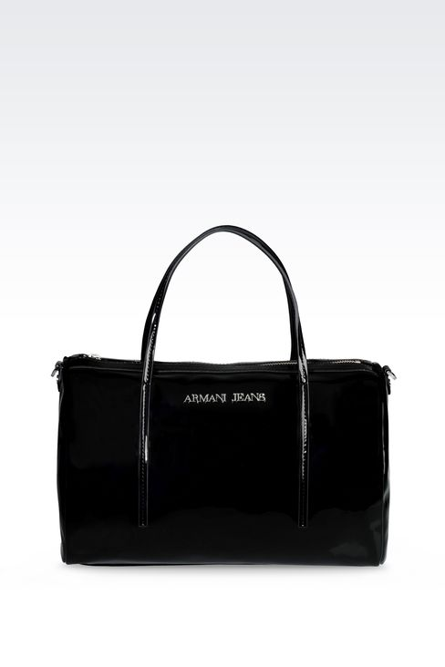 BAULETTO BAG IN PATENT-EFFECT FAUX LEATHER: Baulettos Women by Armani - 1