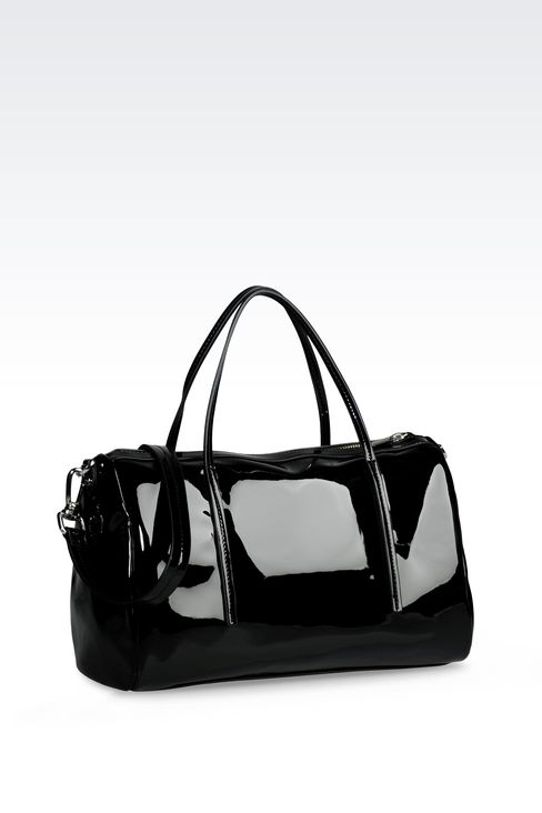 BAULETTO BAG IN PATENT-EFFECT FAUX LEATHER: Baulettos Women by Armani - 2