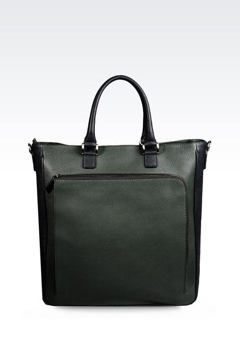 LEATHER TOTE BAG WITH DETACHABLE SHOULDER STRAP : Shoppers Men by Armani - 1