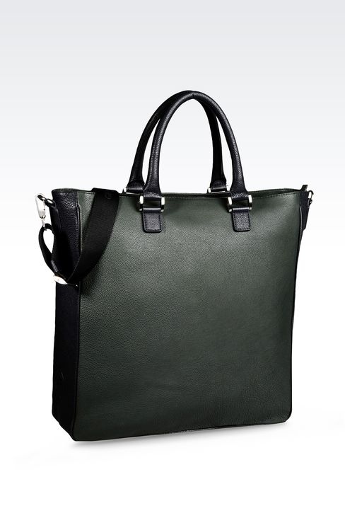 LEATHER TOTE BAG WITH DETACHABLE SHOULDER STRAP : Shoppers Men by Armani - 2