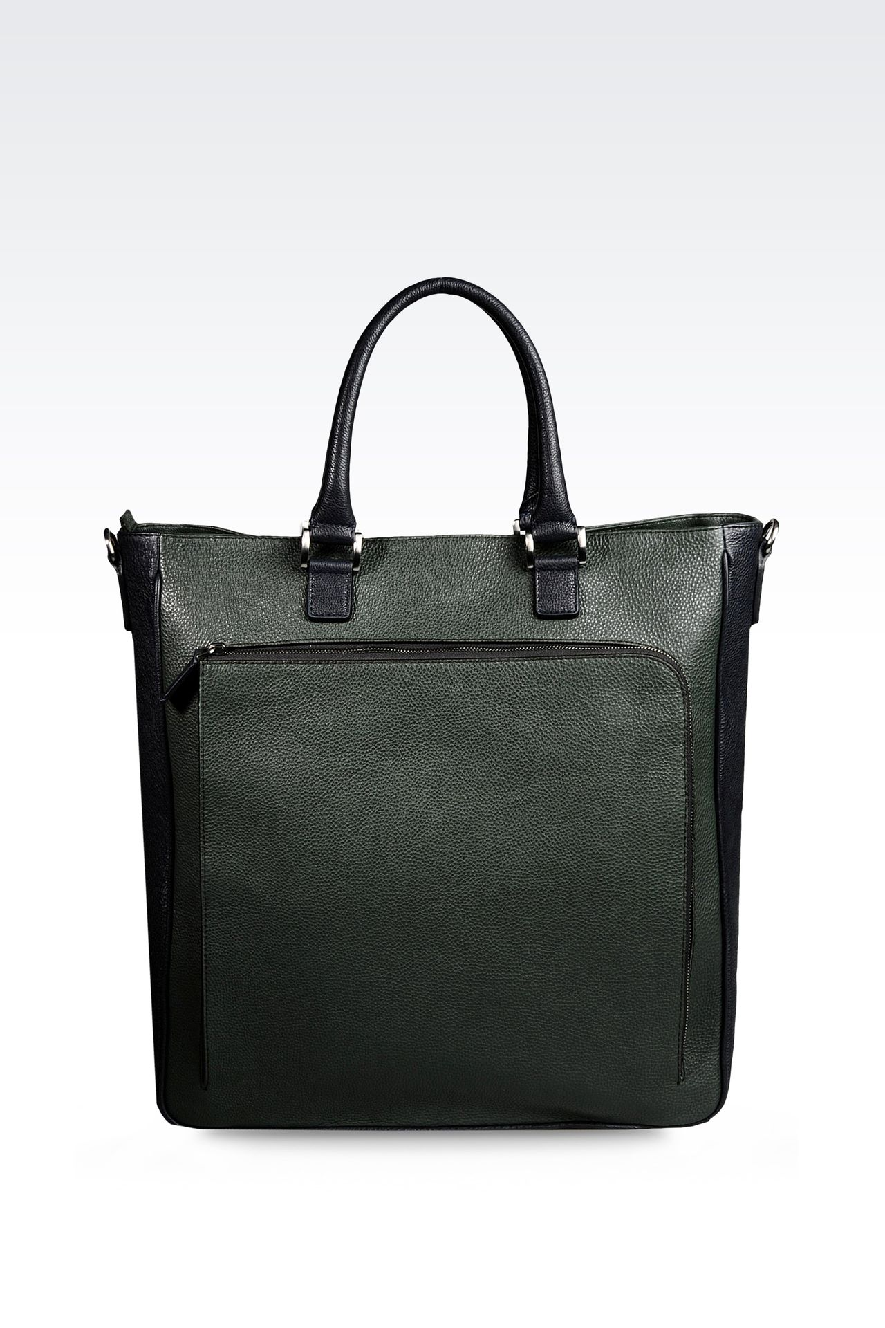 LEATHER TOTE BAG WITH DETACHABLE SHOULDER STRAP : Shoppers Men by Armani - 0
