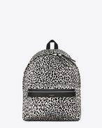Classic hunting Backpack IN White AND Black BABYCAT PRINTED Nylon Canvas AND BLACK LEATHER