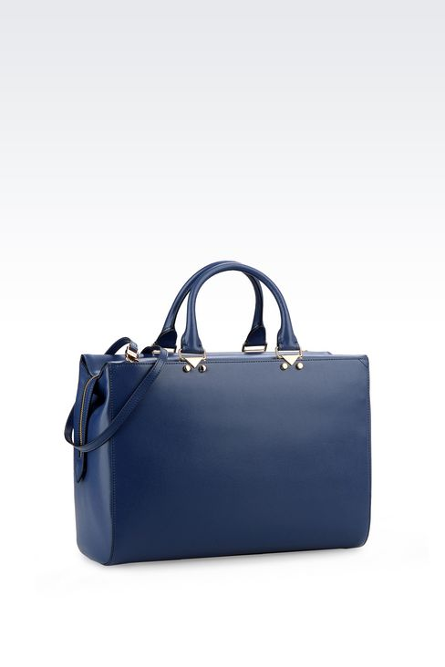 HANDBAG IN BOARDED CALFSKIN WITH DETACHABLE SHOULDER STRAP: Top handles Women by Armani - 2