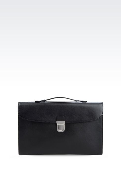 LEATHER BRIEFCASE WITH SNAP LOCK FASTENER : Briefcases Men by Armani - 1