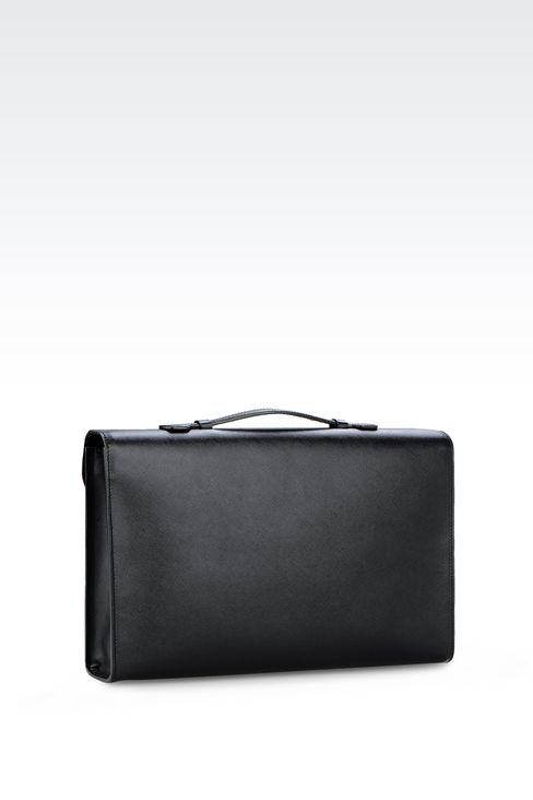 LEATHER BRIEFCASE WITH SNAP LOCK FASTENER : Briefcases Men by Armani - 2