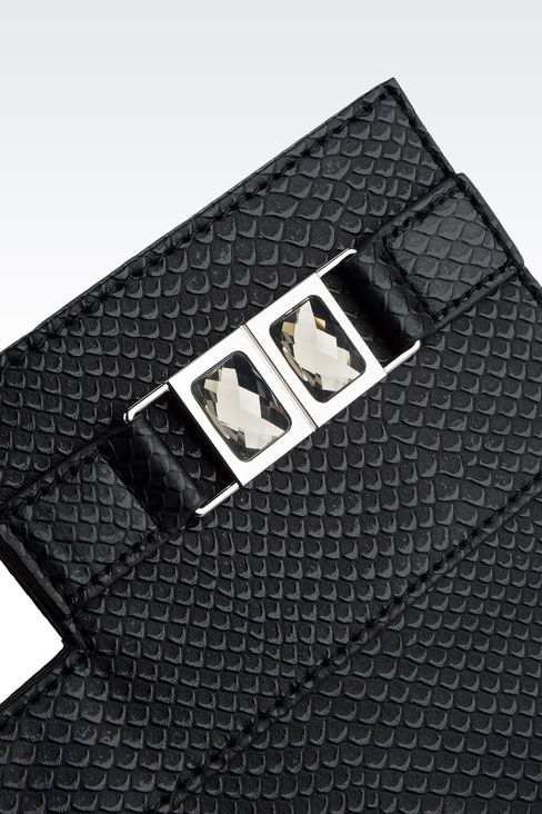 CLUTCH IN REPTILE-PRINT FAUX LEATHER WITH JEWEL DETAIL: Clutches Women by Armani - 4