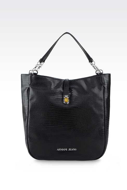 TOTE BAG IN PRINTED FAUX LEATHER WITH JEWEL DETAIL: Shoppers Women by Armani - 1