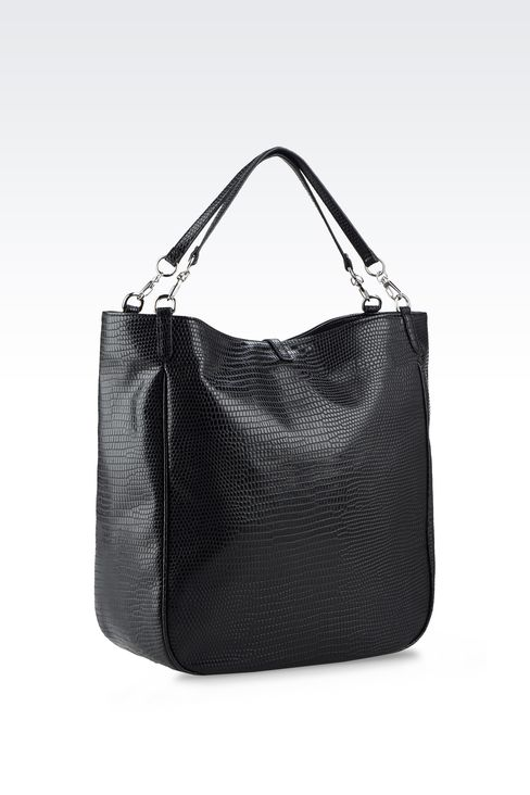 TOTE BAG IN PRINTED FAUX LEATHER WITH JEWEL DETAIL: Shoppers Women by Armani - 2