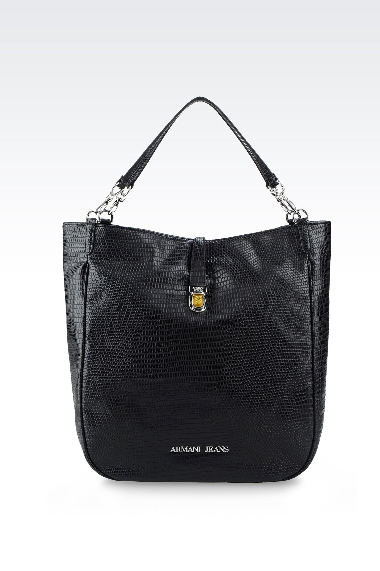 TOTE BAG IN PRINTED FAUX LEATHER WITH JEWEL DETAIL: Shoppers Women by Armani - 0