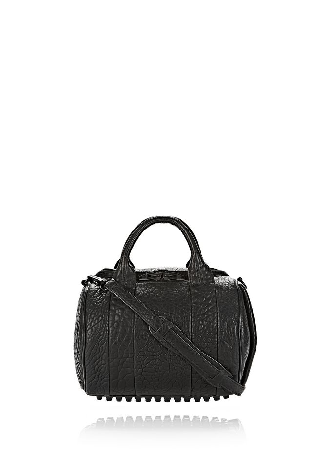 ALEXANDER WANG bags-classics ROCKIE IN PEBBLED BLACK WITH MATTE BLACK