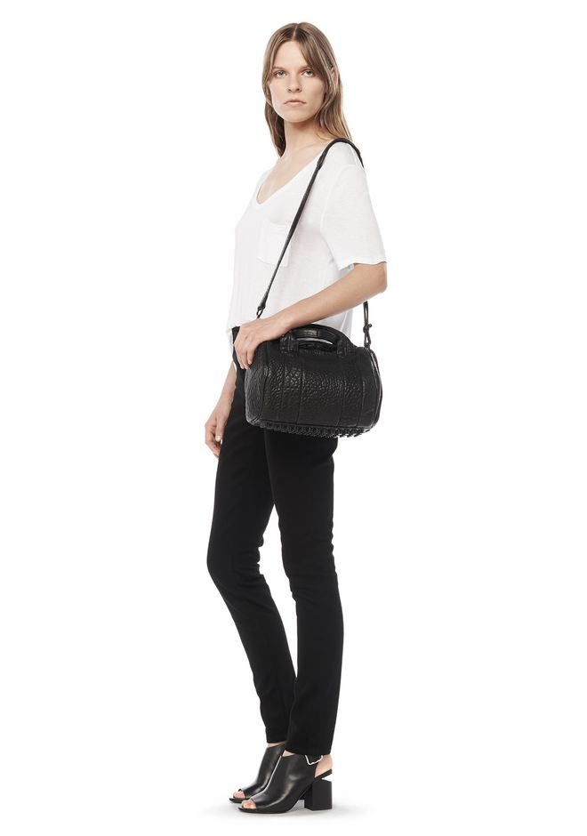 ALEXANDER WANG ROCKIE IN PEBBLED BLACK WITH MATTE BLACK Shoulder bag Adult 12_n_r